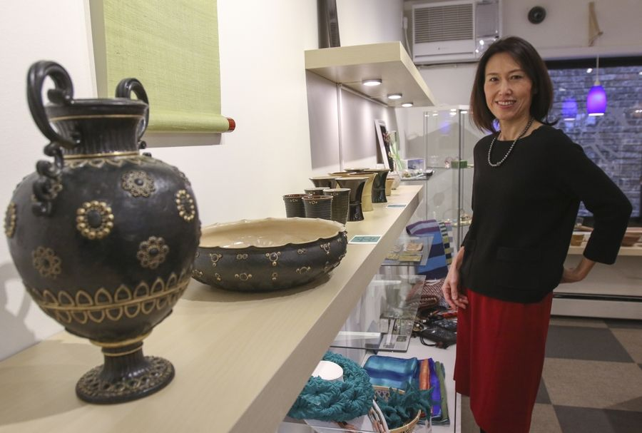 Motoko Izumi, owner of Artezanato Studio in Naperville, is hosting a Japanese cultural event Friday, Feb. 12, to display art, flowers, food and athletics from her native land. Items to be shown during the event include ceramics from Kyoto.