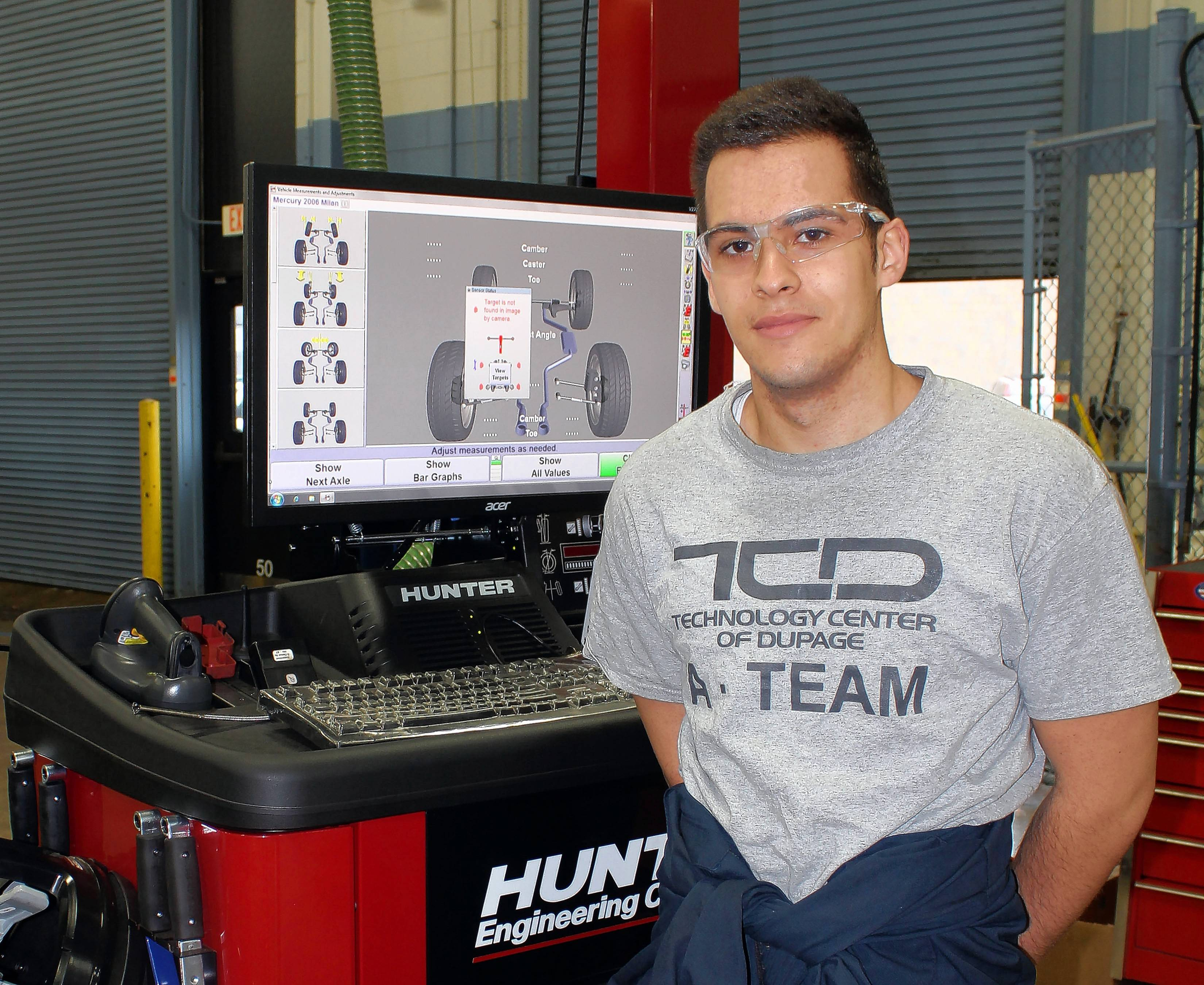 Leonardo Kekic, a senior at Lake Park High School and TCD A-Team member, demonstrates that CTE is for college bound students, too. He plans to continue in automotive technology at Southern Illinois University.