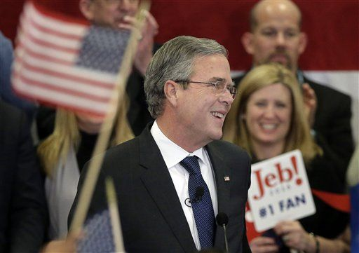 Republican presidential candidate, former Florida Gov. Jeb Bush speaks during a primary night rally, Tuesday, Feb. 9, 2016, in Manchester, N.H.