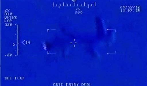 "This Jan. 12, 2016, still image taken from video made available by the U.S. Navy shows Iranian drone"" Shaheed "" as it flies over the USS Harry S. Truman. That's according to an internal U.S. Navy report on the Jan. 12 incident obtained Wednesday by The Associated Press through a Freedom of Information Act request. The Iranian drone was the first to conduct an overflight of an American carrier since 2014. (U.S. Navy via AP)"