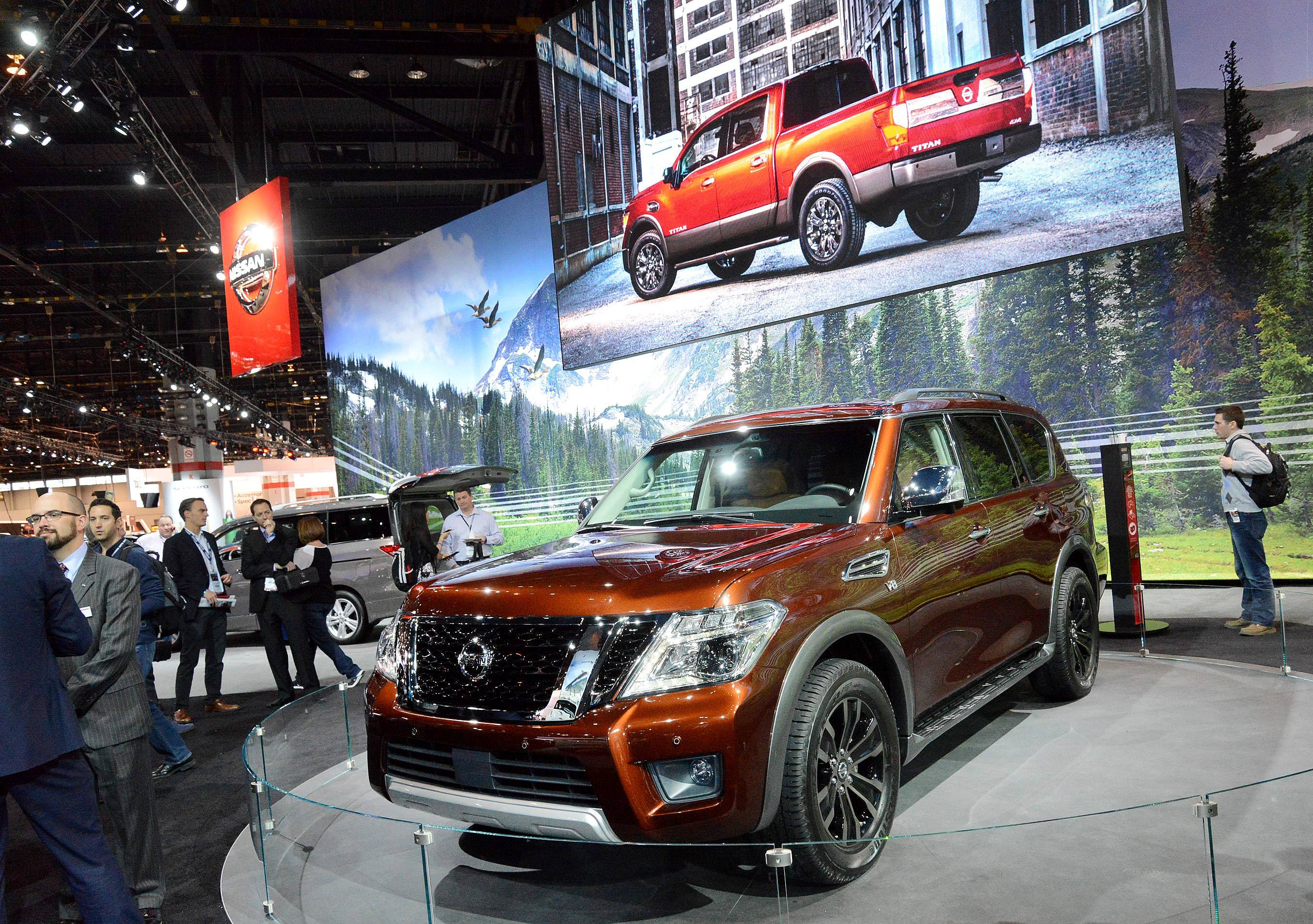 Suburban auto dealers 2016 Chicago Auto Show at McCormick Place in Chicago say they see a demand for SUVs in 2016 — just not big ones as fuel efficiency is still in consumers' minds. This is a 2017 Nissan Armada.