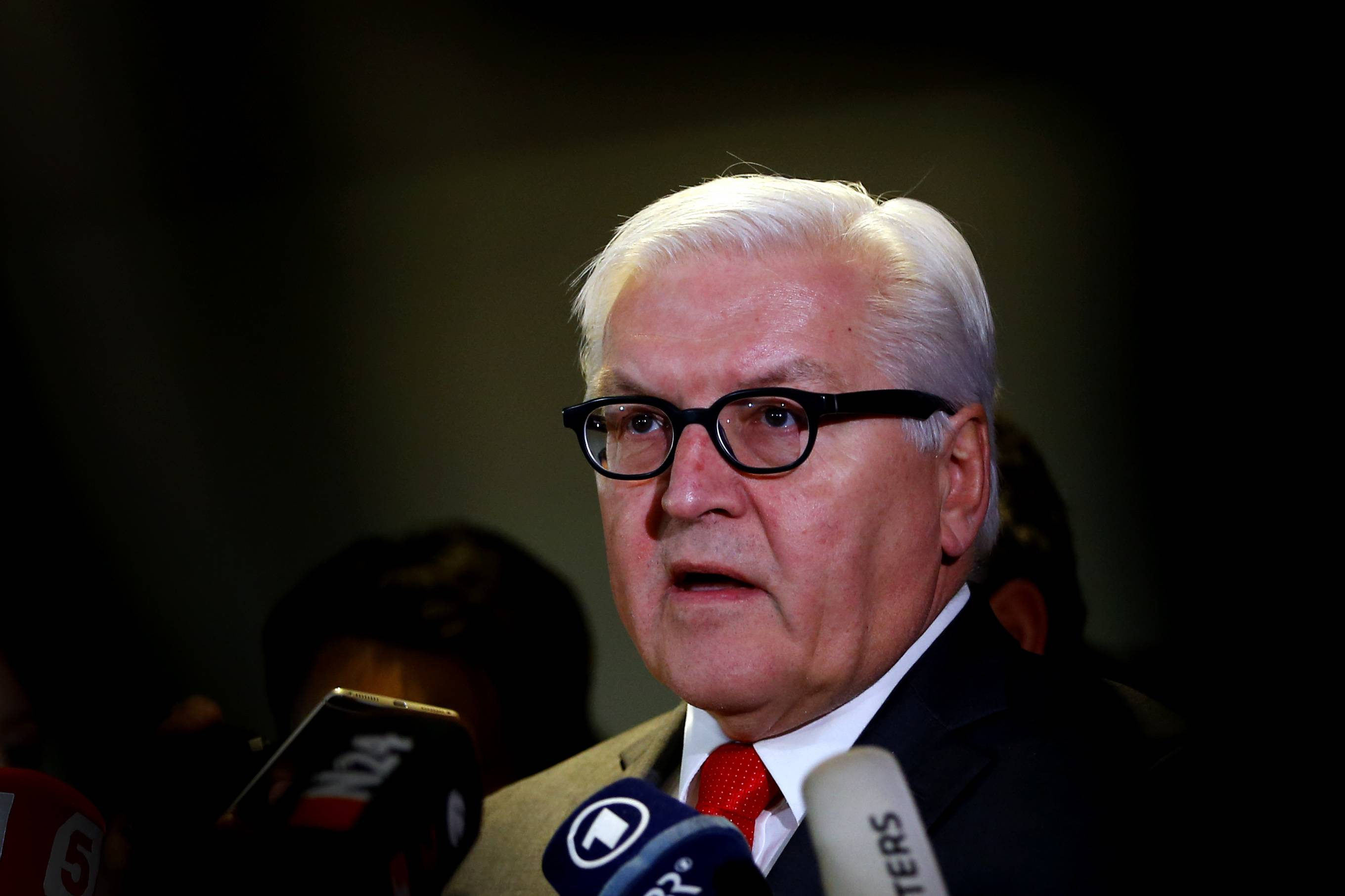 German Foreign Minister Frank-Walter Steinmeier briefs the media prior to the Syria talks in Munich, Germany, Thursday, Feb. 11, 2016.