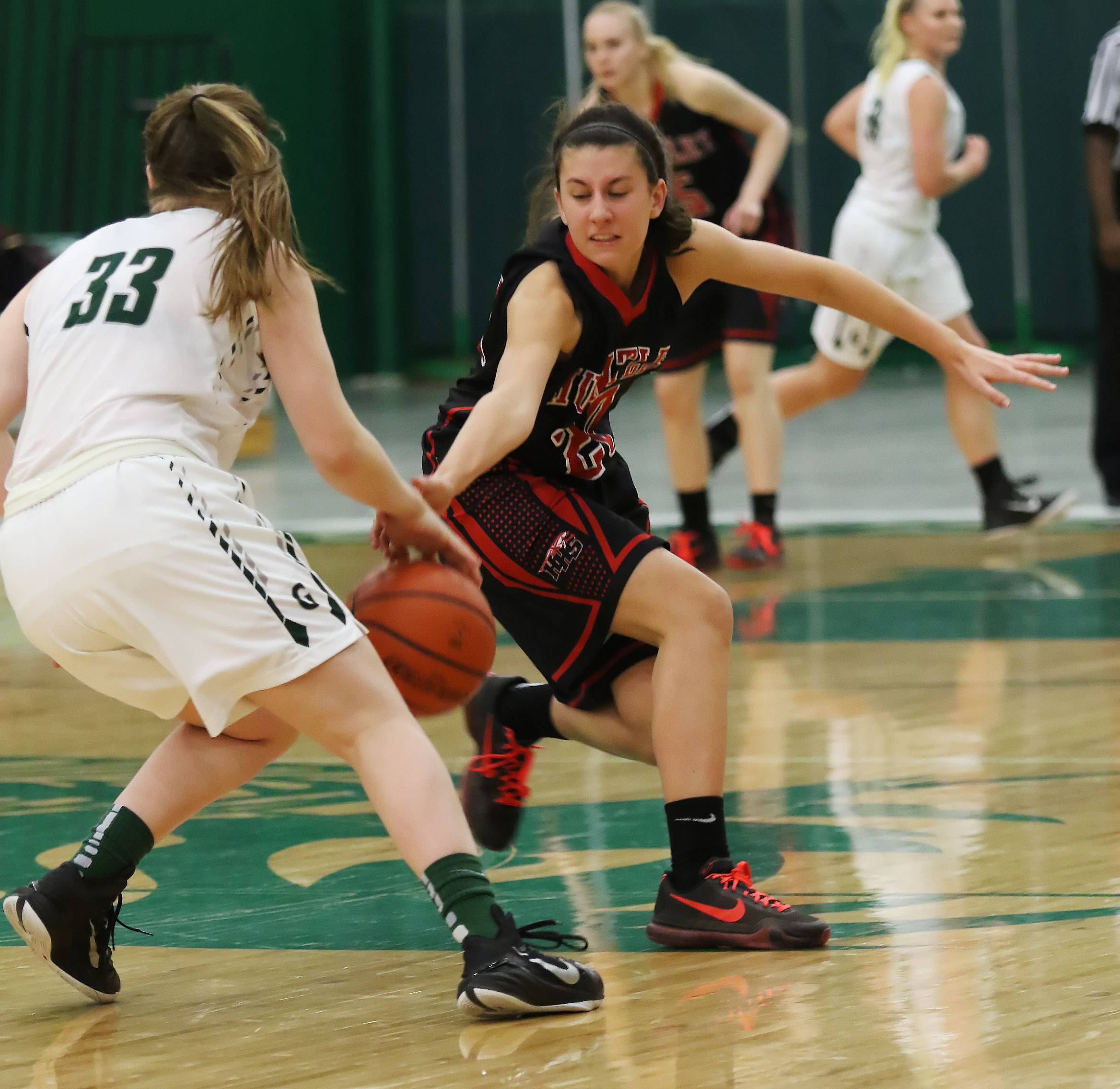 Huntley guard Mallory Moffett knocks the ball away from Grayslake Central guard Rosie Drevline during the girls high school basketball game Thursday between Huntley at Grayslake Central.