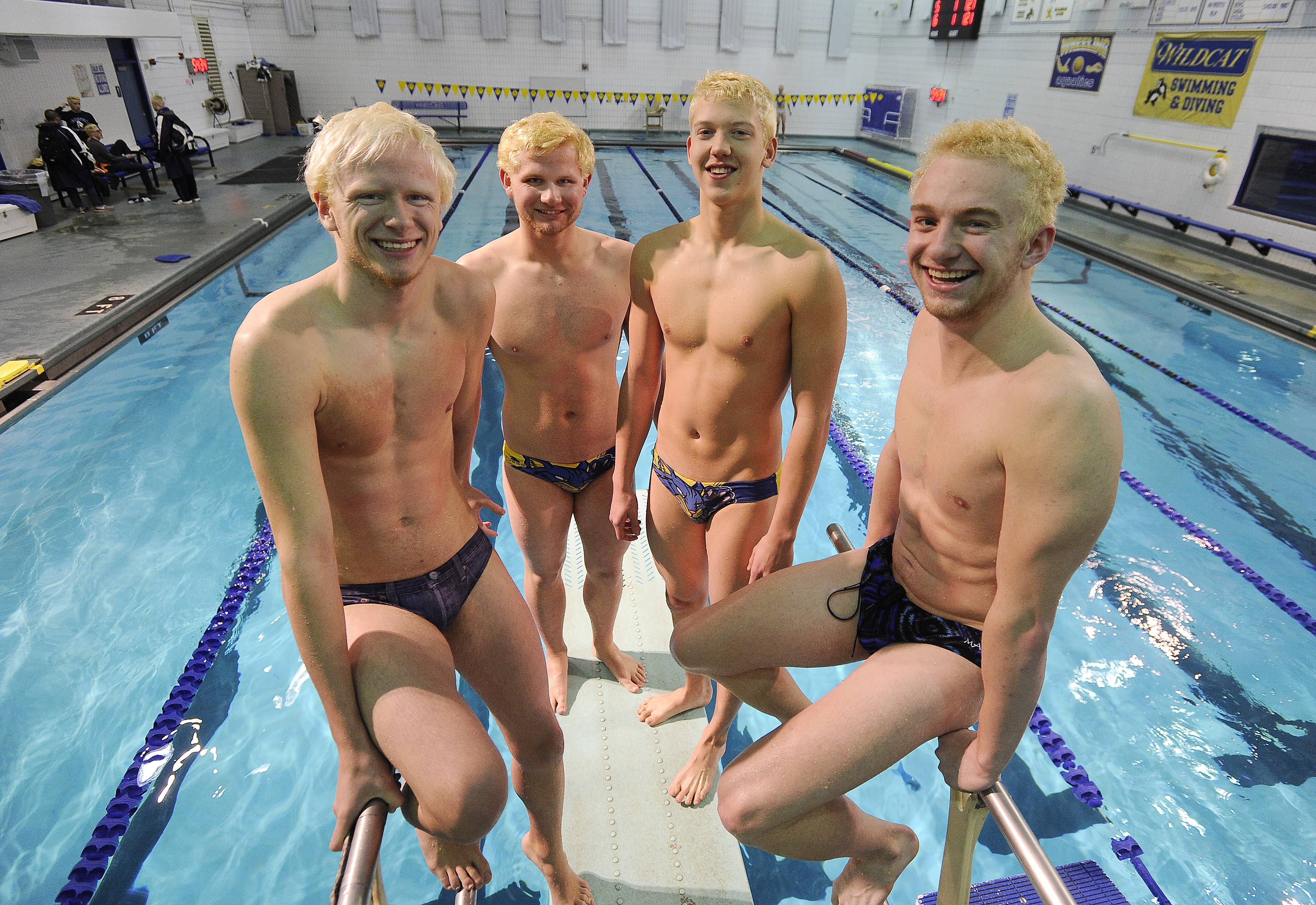 From left, Wheeling seniors Kyle Noel, Jake Noel, Nate Reiff and Justin Loquercio are hoping for a strong finish to their final season as swimming teammates.