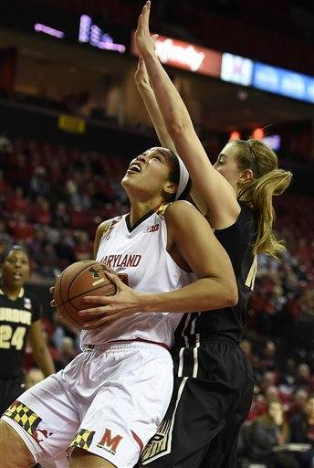 Maryland's Brionna Jones, left, looks for a shot as Purdue's Bridget Perry defends during the first half of an NCAA college basketball game Thursday, Feb. 11, 2016, in College Park, Md. (AP Photo/Gail Burton)