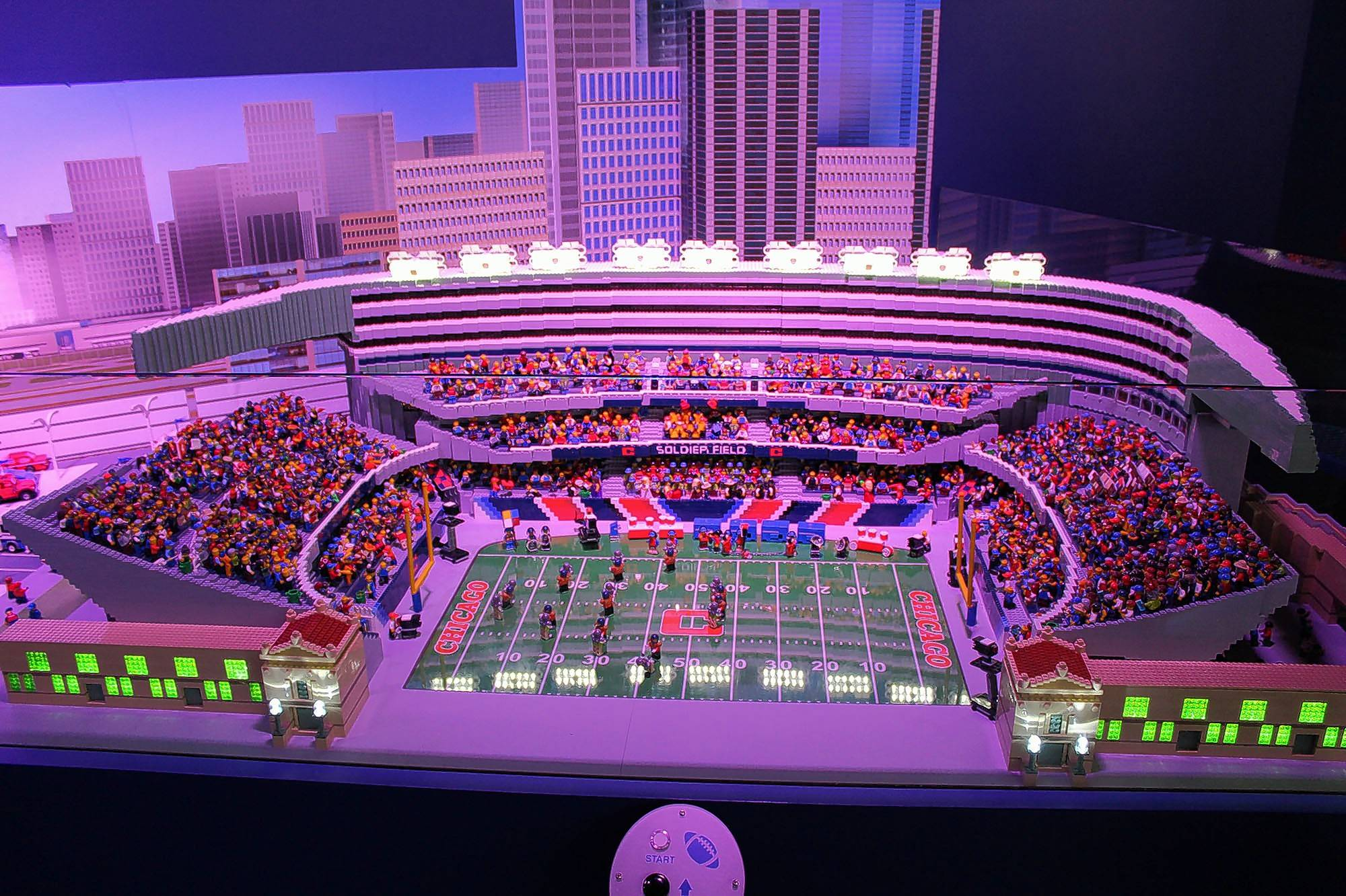 A replica of Soldier Field, complete with players and spectators, is one of the new attractions that debuted Friday at Legoland Discovery Center in Schaumburg.