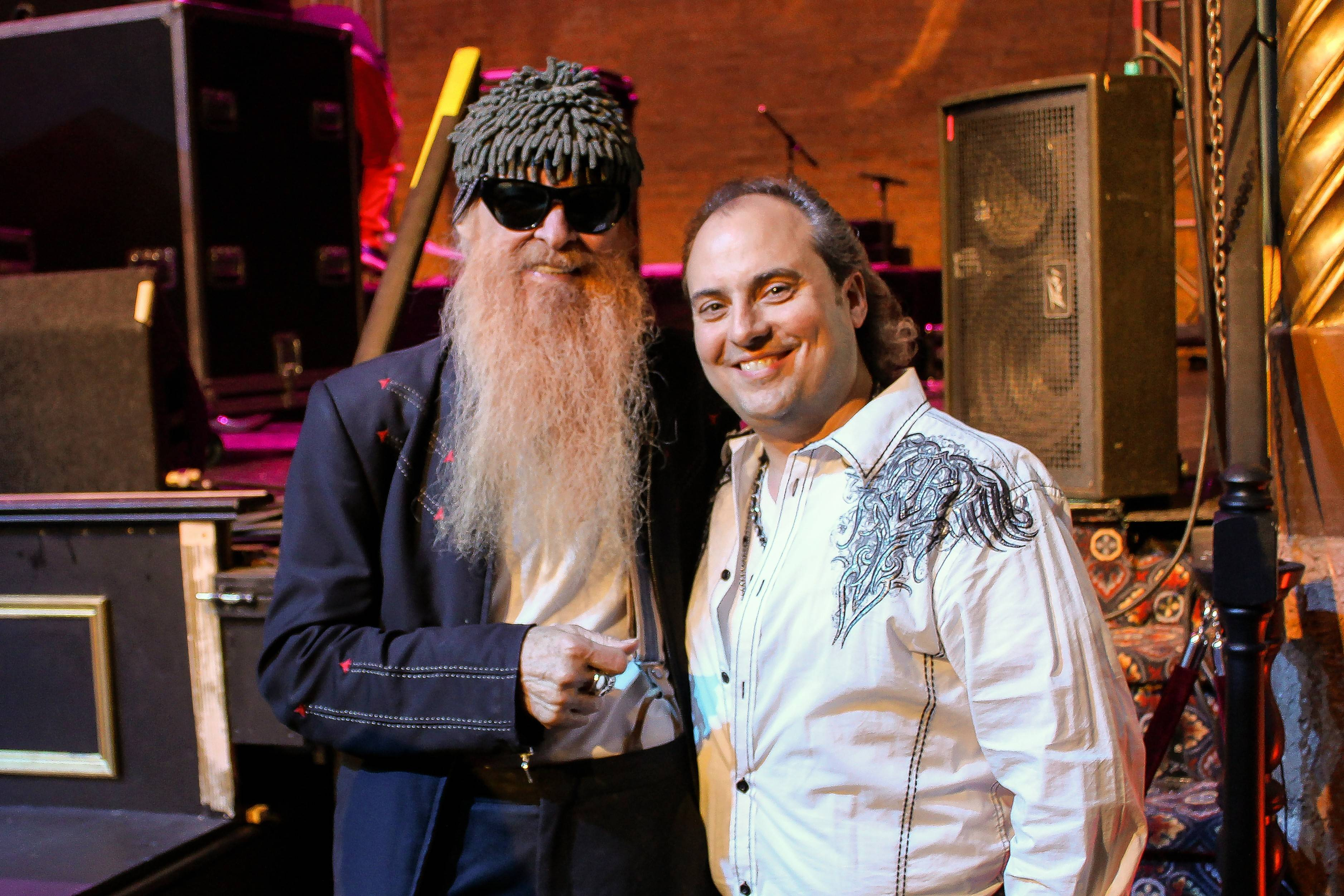ZZ top founder Billy Gibbons and the Arcada Theatre owner Ron Onesti spent a late night after the guitarist's recent solo show.