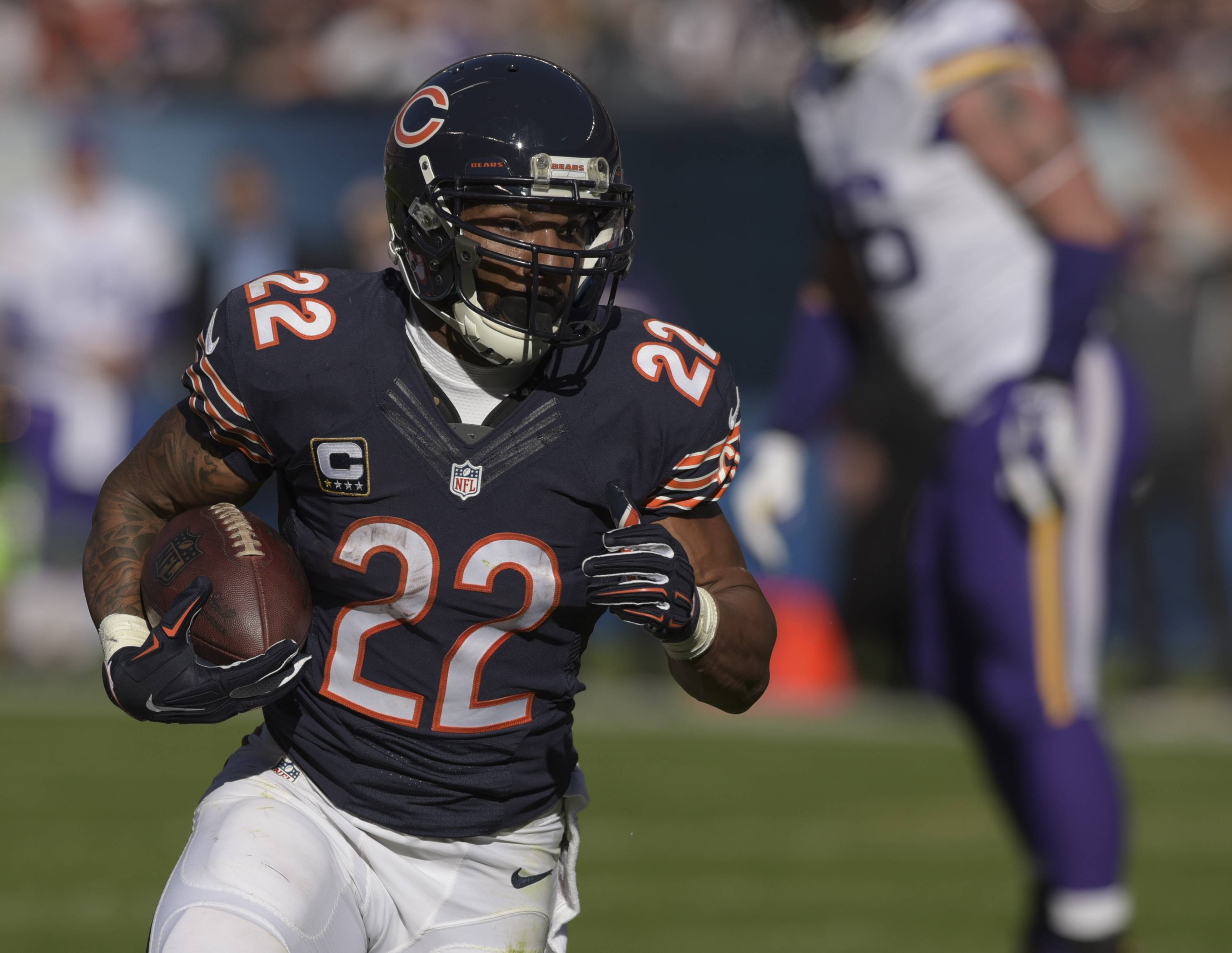 Chicago Bears running back Matt Forte gains some yards during the Bears 20-23 loss at Soldier Field Sunday.