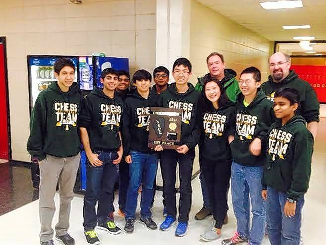 The 2015-16 Stevenson High School chess team, from left: Adit Ghosh, Rahul Dhiman, Kavin Lavari, Conrad Oberhaus, Shashank Bala, Alex Bian, Coach Vincent Springer, Miranda Liu, Allen Guo, Assistant Coach Rob Krause, Sritej Vontikommu. Not pictured: Jack Xiao and Assistant Coach Scott Oliver.