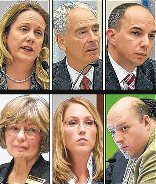 The divided College of DuPage board: top row from left, Deanne Mazzochi, Charles Bernstein, Frank Napolitano; bottom row, Dianne McGuire, Erin Birt, Joseph Wozniak.