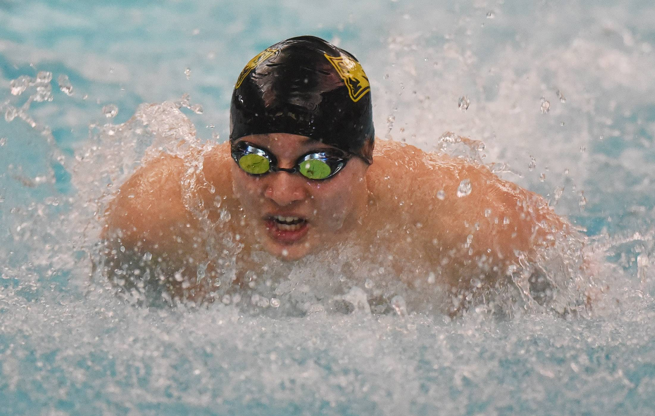 Stevenson's Nick Baginski swims butterfly in the 200-yard medley relay during the North Suburban Conference meet at Vernon Hills on Saturday.