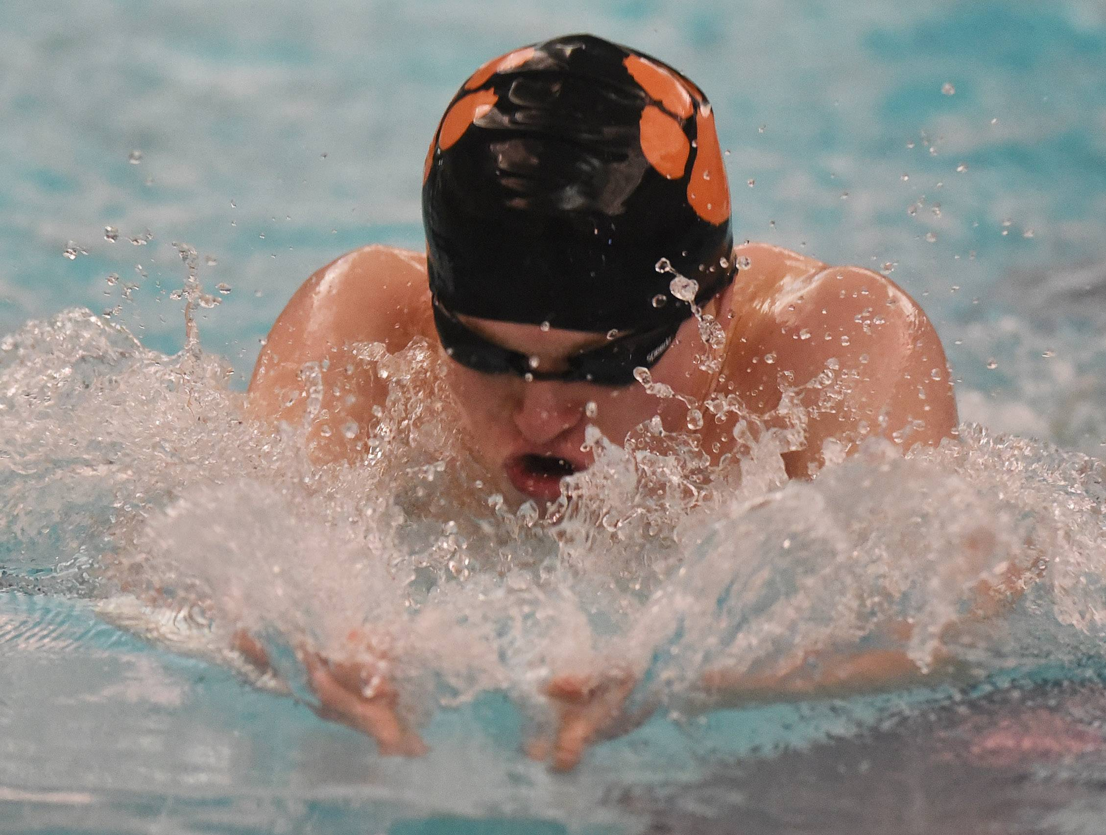 Libertyville's Noah Jamieson swims the breaststroke portion of the 200-yard IM during the North Suburban Conference boys swimming meet at Vernon Hills on Saturday.