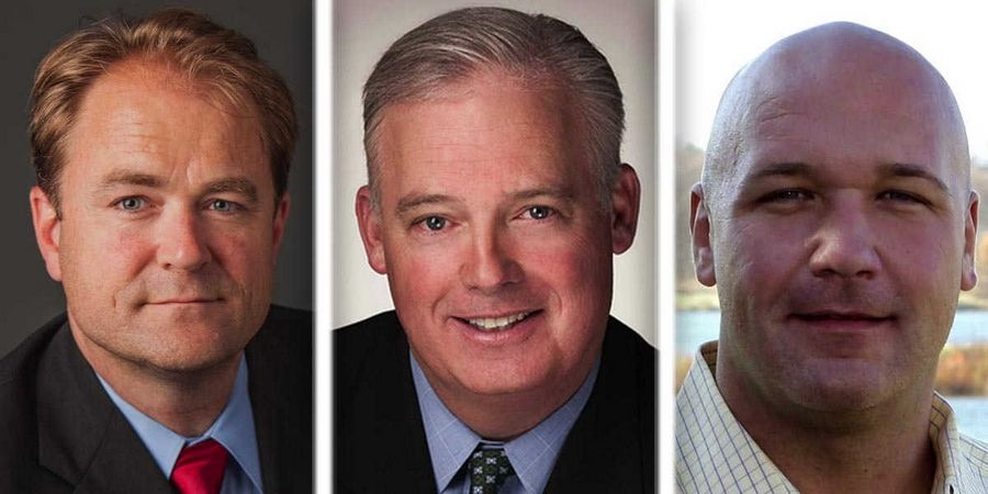 From left, Dan McConchie, Martin McLaughlin, and Casey Urlacher are Republican candidates for the 26th state Senate District in the 2016 primary.