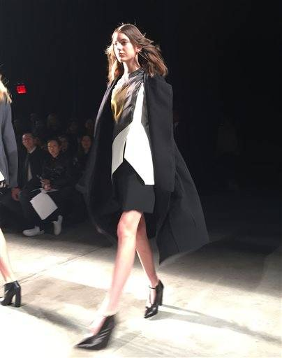 This Feb. 16, 2016 photo shows fashion from the Narciso Rodriguez Fall-Winter 2016 collection being modeled during Fashion Week in New York.