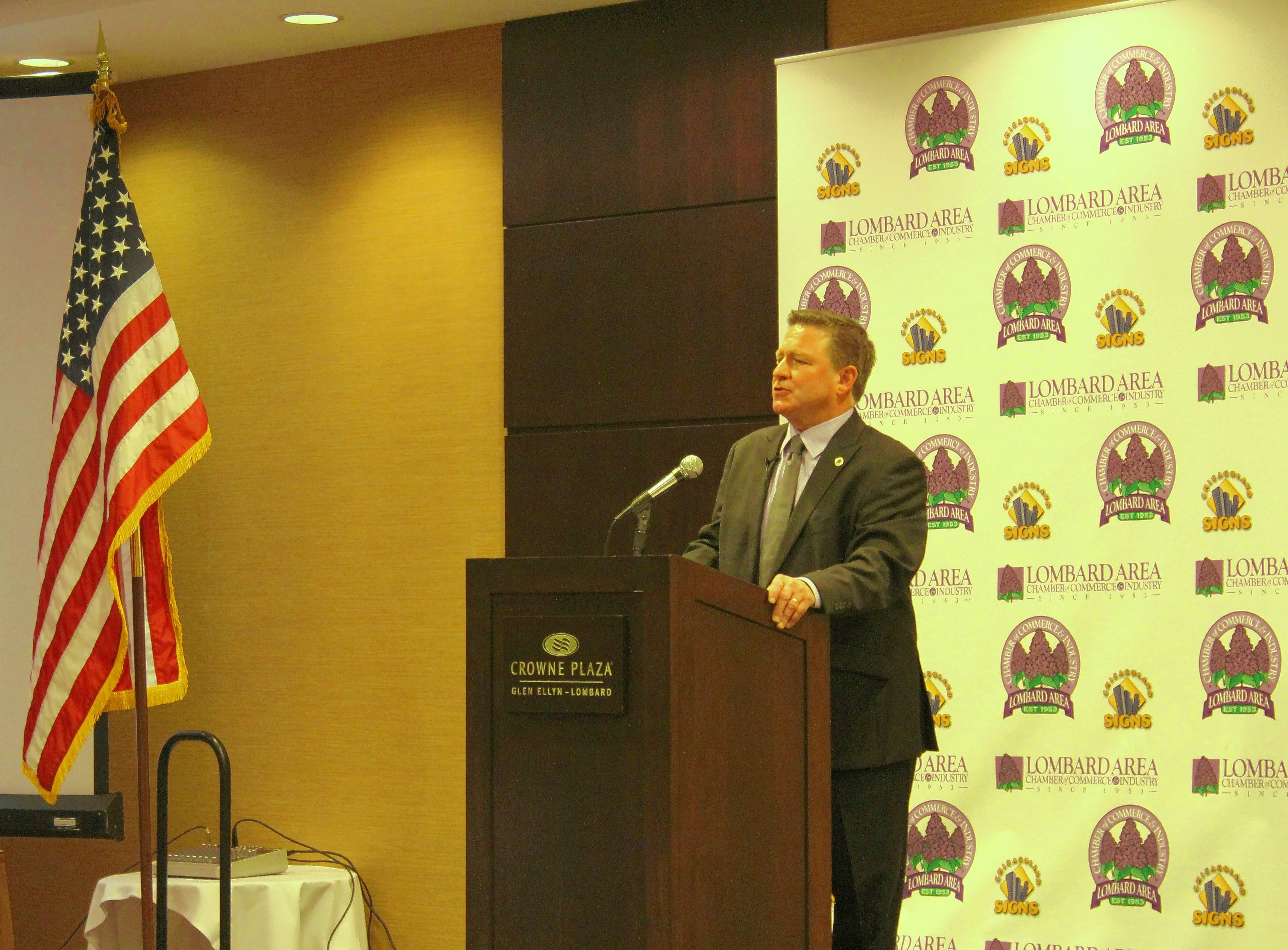 Lombard Village President Keith Giagnorio gives his annual State of the Village address Wednesday at the Crowne Plaza in Glen Ellyn.