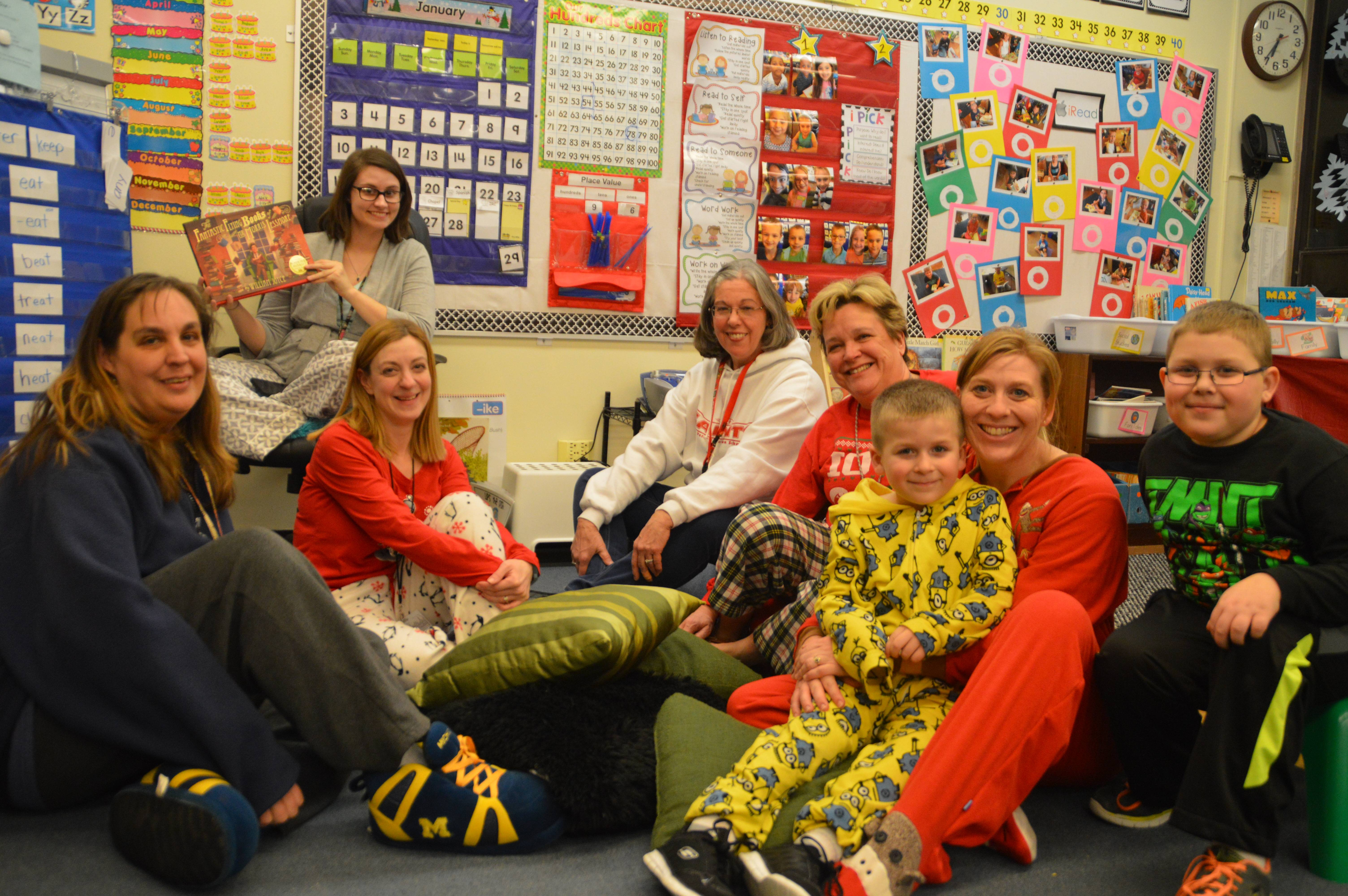Teachers and students enjoy the Pajama Party room at St. Peter Lutheran School's Family Reading Night
