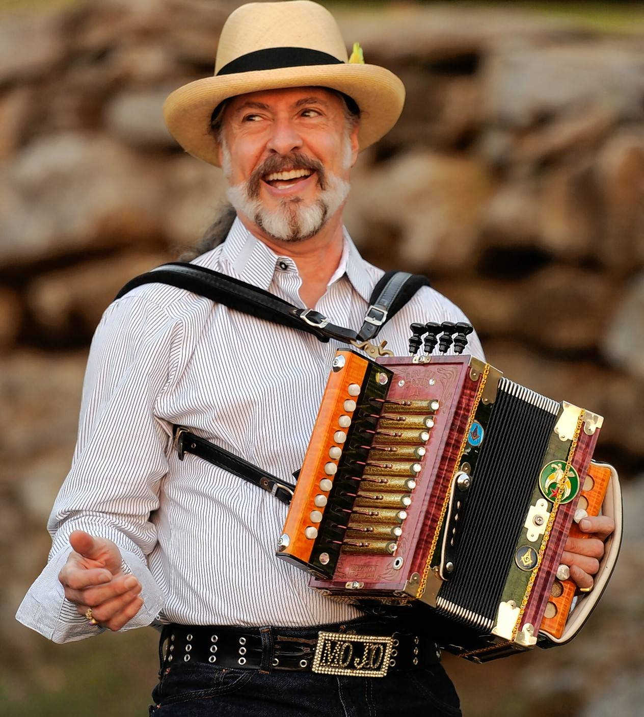 Mojo and the Boyou Gypsies play zydeco and cajun rock at the Arcada Theatre's Mardi Gras celebration Friday, Feb. 19.