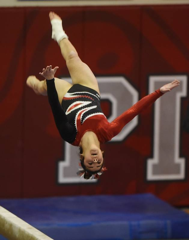 Barringtons Abby Hasanov Competes On The Balance Beam During Girls State Gymnastics Finals At Palatine