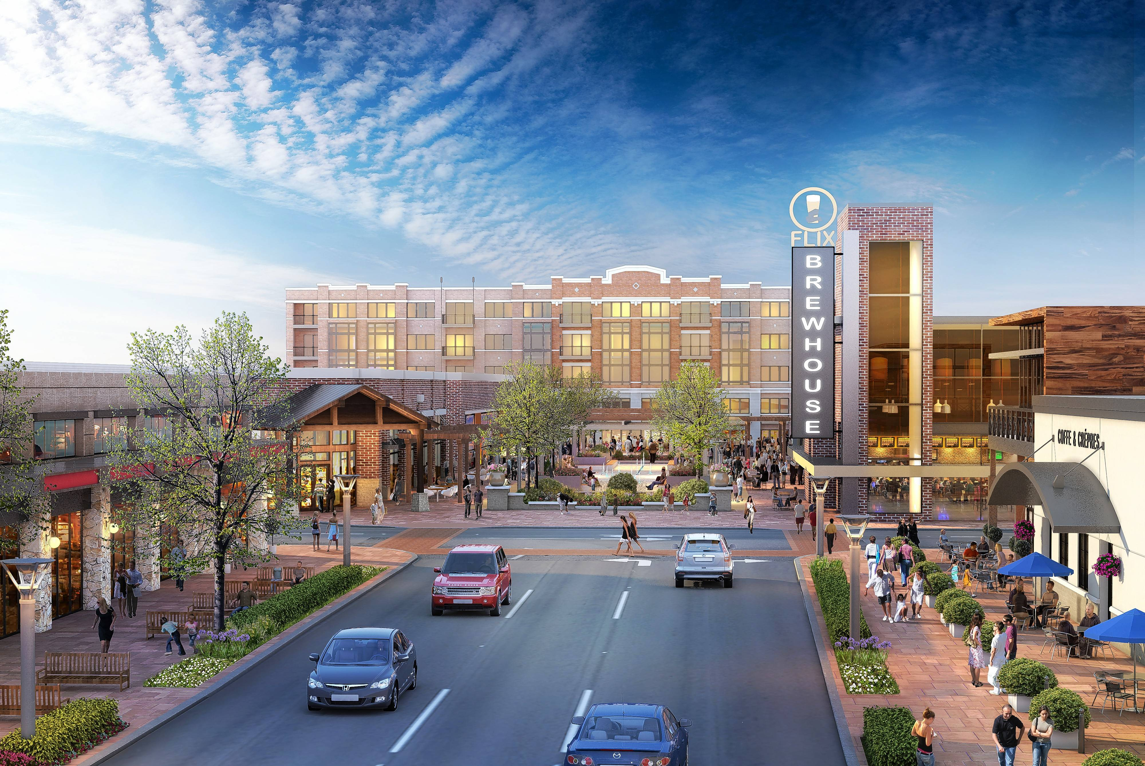 "Wheeling's Town Center project proposed near the intersection of Dundee Road and Northgate Parkway is facing a six-month delay. The $100 million plan includes a 38,000-square-foot movie theater and brewpub ""Flix Brewhouse,"" 60,000 square feet of additional retail space and a five-story, 295-unit residential building."
