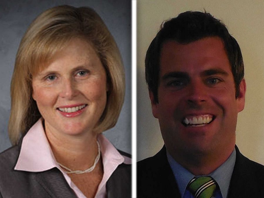 Susan Starrett, left, and Doug Sullivan, right, are Republican candidates for Kane County Board District 10 in the 2016 election.