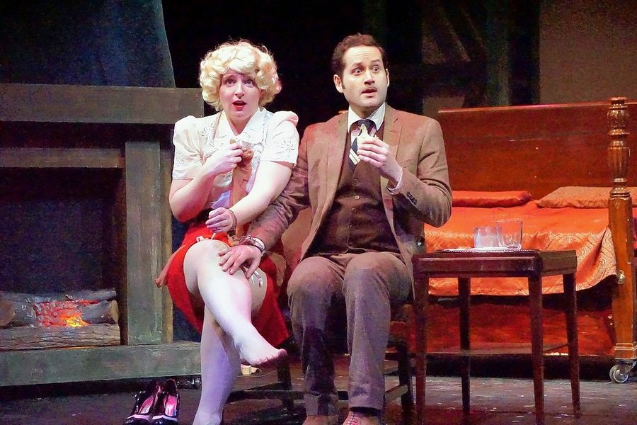 "Ellen Cribbs and Edward Fraim play a couple of strangers on the run in the comedy thriller ""The 39 Steps"" at the Metropolis Performing Arts Centre in Arlington Heights."
