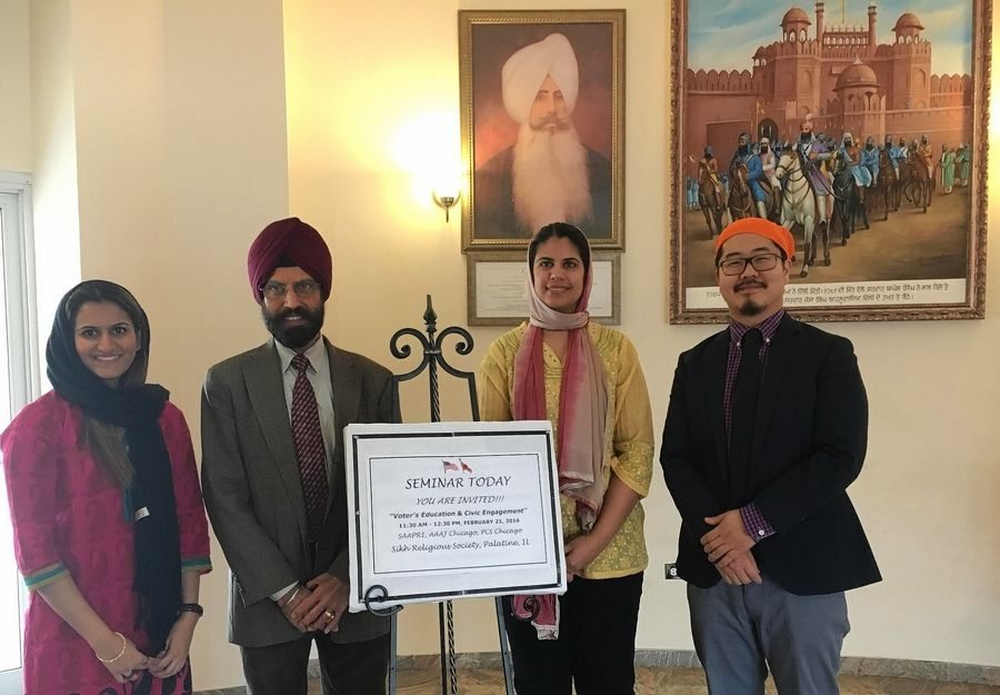 Pictured, from left, at the Civic Engagement and Voter's Education Forum are Zahra Saylawala, Rajinder Singh Mago, Reema Kapur and Steve Moon. The forum was hosted by Sikh Religious Society at Sikh Gurudwara in Palatine.