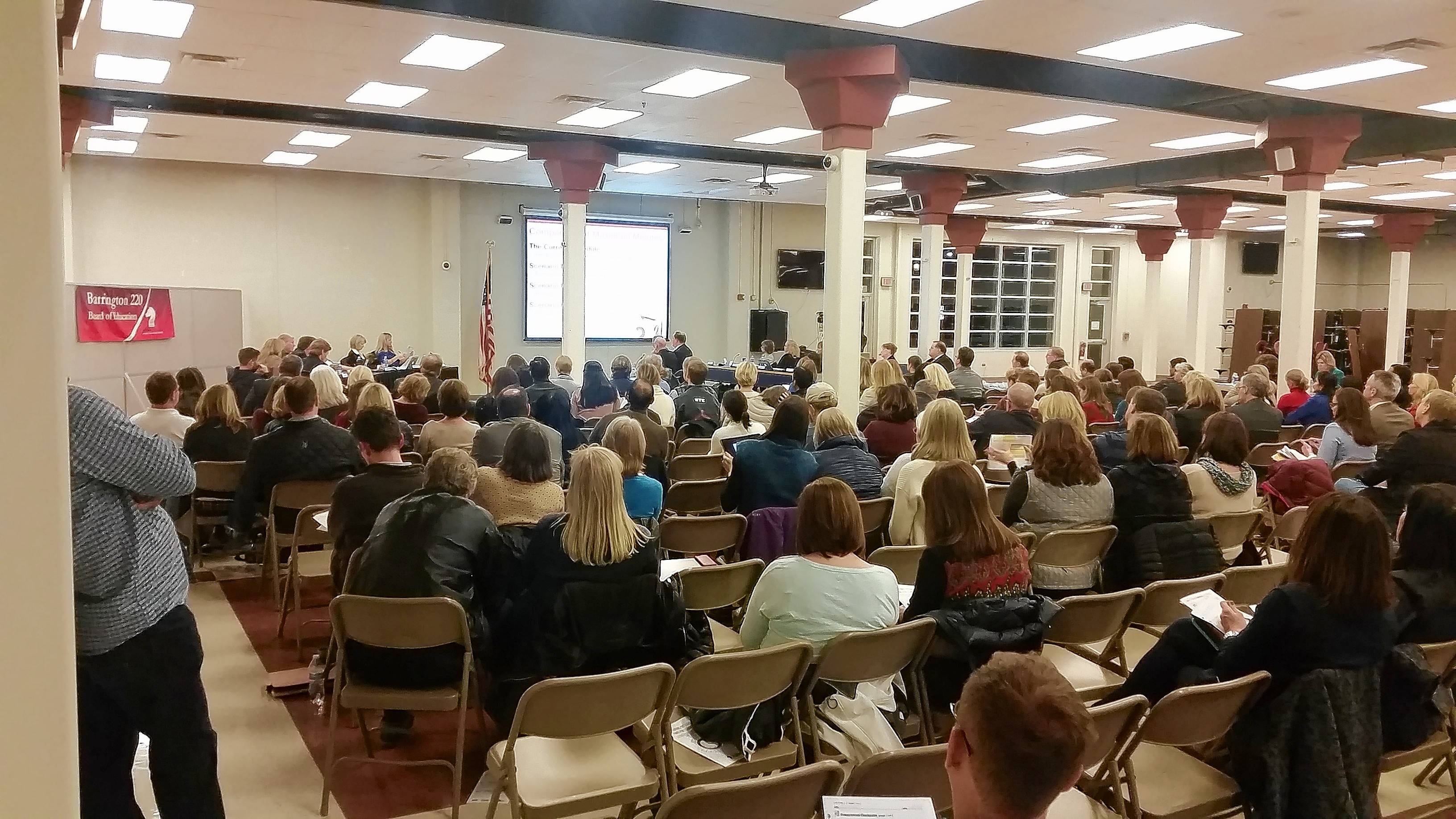 The District 220 school board meeting drew a crowd Tuesday night in Barrington for more discussion on later start times.