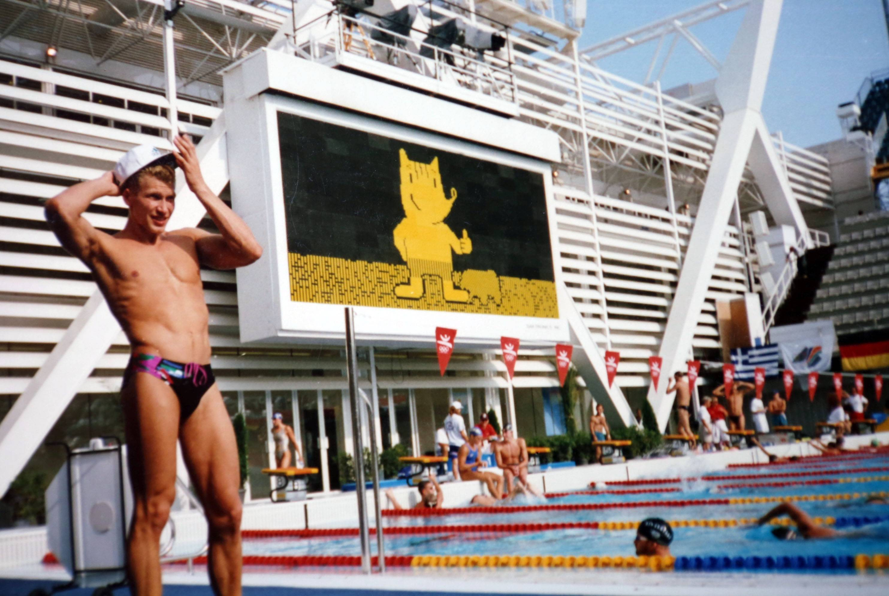"Vladimir ""Vlad"" Pyshnenko on the pool deck during the 1992 Olympic Games in Barcelona, where he won a gold and two silver medals, top right. He also won a silver in 1996 in Atlanta."
