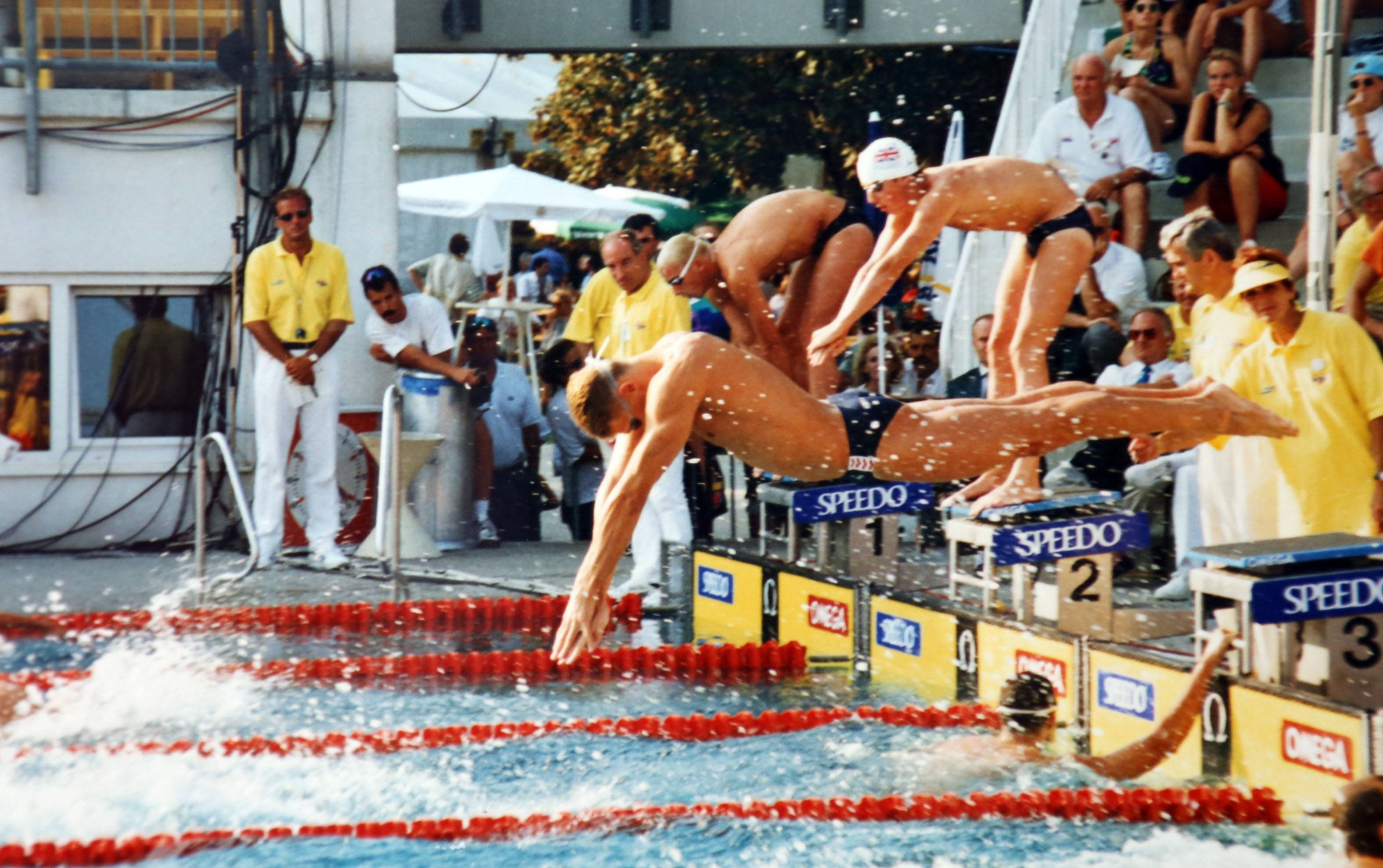 "Vladimir ""Vlad"" Pyshnenko dives in the water during the 1995 European Championships in Vienna, Austria."