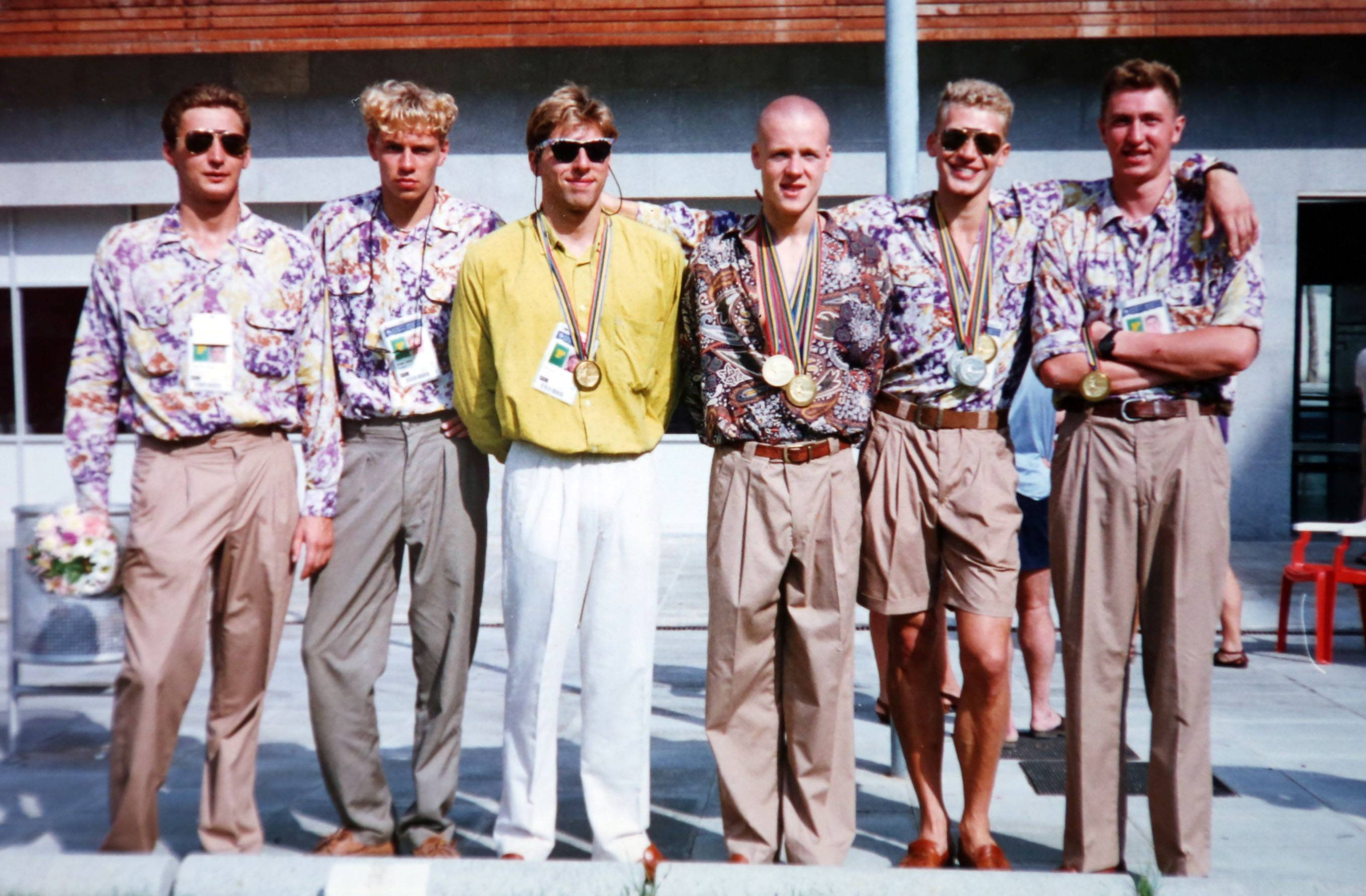 Vlad Pyshnenko, second from right, with his 4x200 Olympic gold medal relay team at the 1992 Olympic Games in Barcelona, Spain.