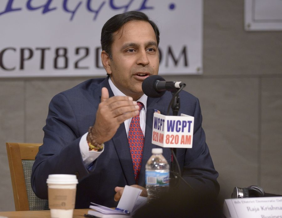 Eighth Congressional District Democratic candidate Raja Krishnamoorthi participates in a debate Monday at the Addison Public Library with opponents Deb Bullwinkel and Mike Noland.