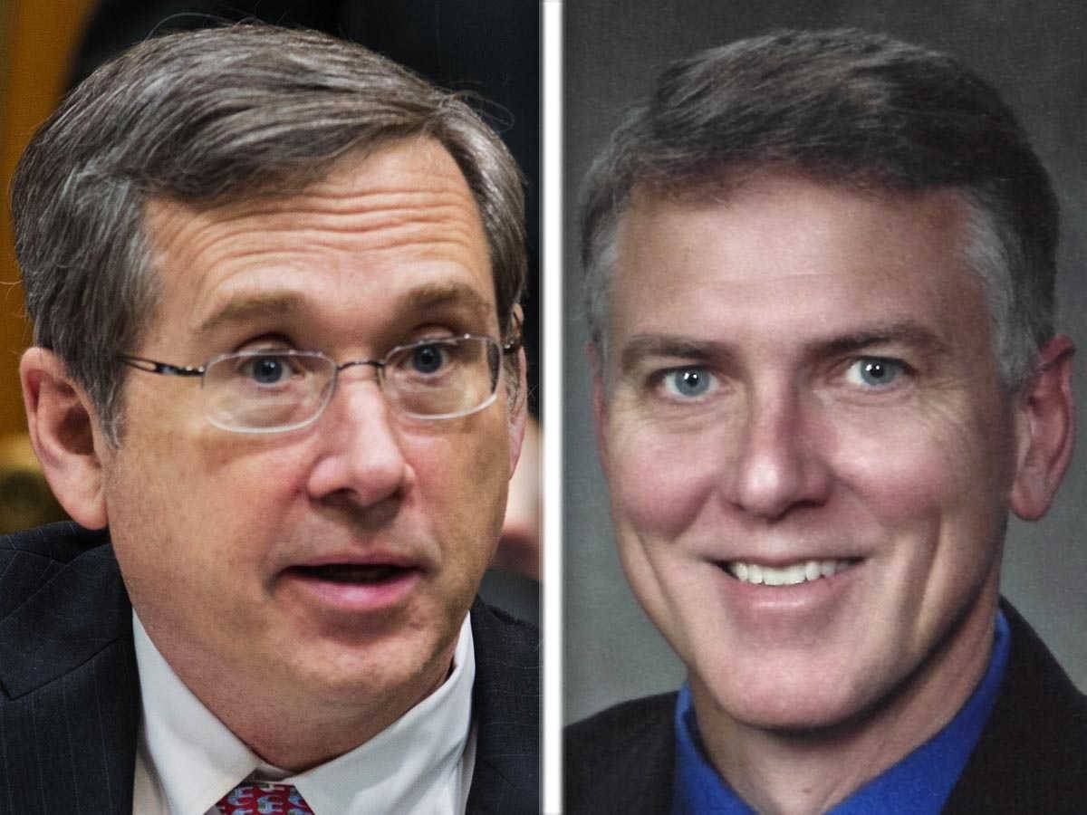 U.S. Sen. Mark Kirk, left, broke Republican ranks over Supreme Court Justice Antonin Scalia's replacement. Opponent James Marter is challenging him from the right.