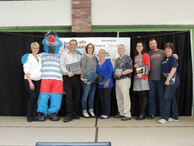 The 2016 winners and Healthy Lombard representatives from left to right Founder and Board President Jay Wojcik,  Supernova, the mascot of the Chicago Red Stars Women's Soccer Team who helped present the awards, Tony Topalidis, owner of Maxfields Restaurant, Janiece Lewitke, Bonnie Kramer, Dave Frank, Ales Olson, nutritionist and representative from Revolution Physical Theropy and Weight Loss, Glen Ellyn, Ben Tipton, owner of Ironclad Performance, and Stephanie Schiszik, stage host and Healthy Lombard Foundation Board Member.Karey Costello