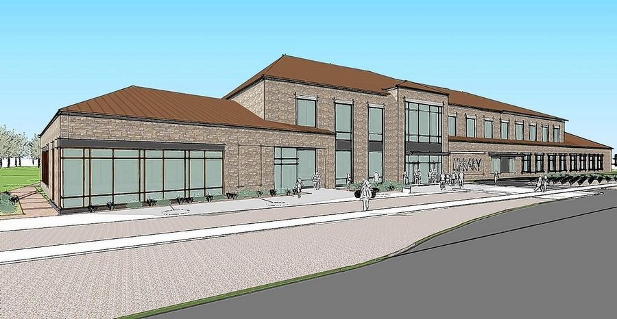 This is one of three design options for a potential new Fox River Valley Public Library District facility on the west side of the river.