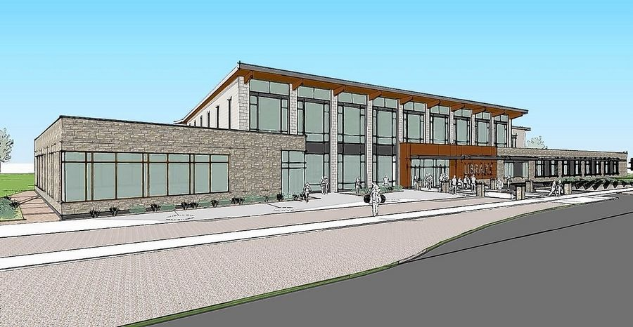 This is the second of three design options for a potential new Fox River Valley Public Library District facility on the west side of the river.