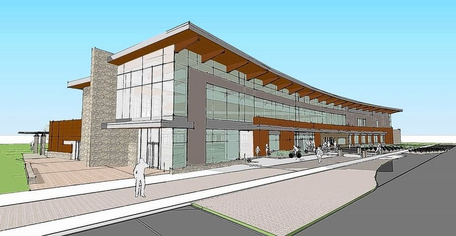 This is the third design option for a potential new Fox River Valley Public Library District facility on the west side of the river.