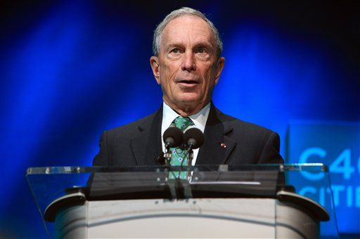 FILE - In this Dec. 3, 2015, file photo, former New York Mayor Michael Bloomberg speaks during the C40 cities awards ceremony, in Paris. For many, Bloomberg's name is synonymous with a pair of political crusades: an anti-gun campaign and a failed takedown of Big Soda. But positions that his supporters have hailed as visionary could be hurdles for voters, particularly Republicans, if the billionaire launches a third-party presidential bid.