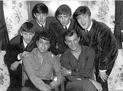 The Beatles with Chris Montez and Tommy Roe in 1963.