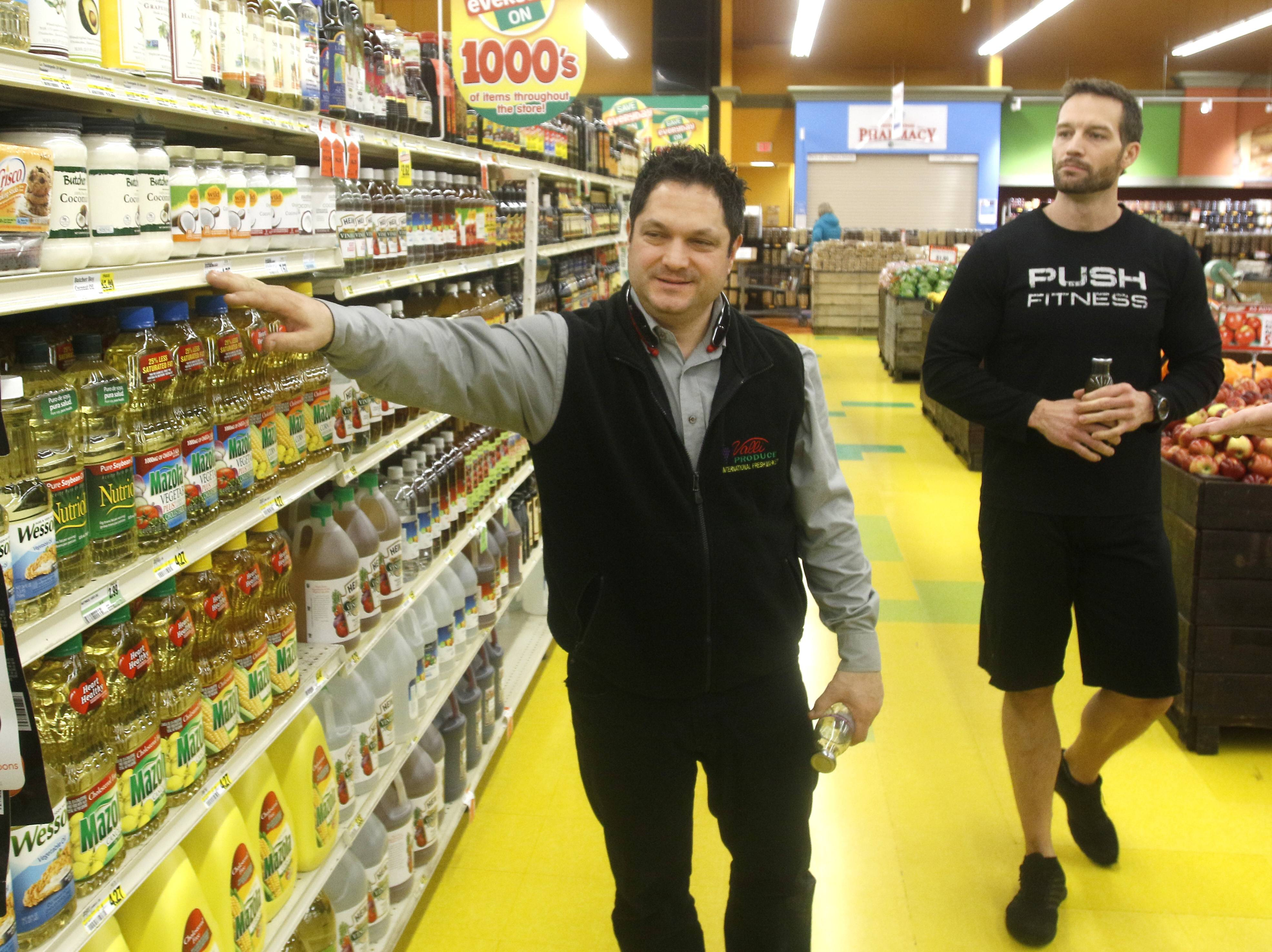 Longtime Valli Produce manager Frank Greco and Push Fitness owner Josh Steckler guided the Fittest Loser contestants through all the grocery store's departments, starting with fresh vegetables and fruits.
