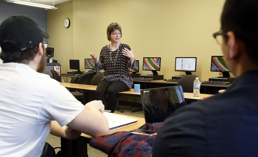 Alison Douglas teaches an English developmental composition class at Elgin Community College for freshman students who are not ready for college-level courses.