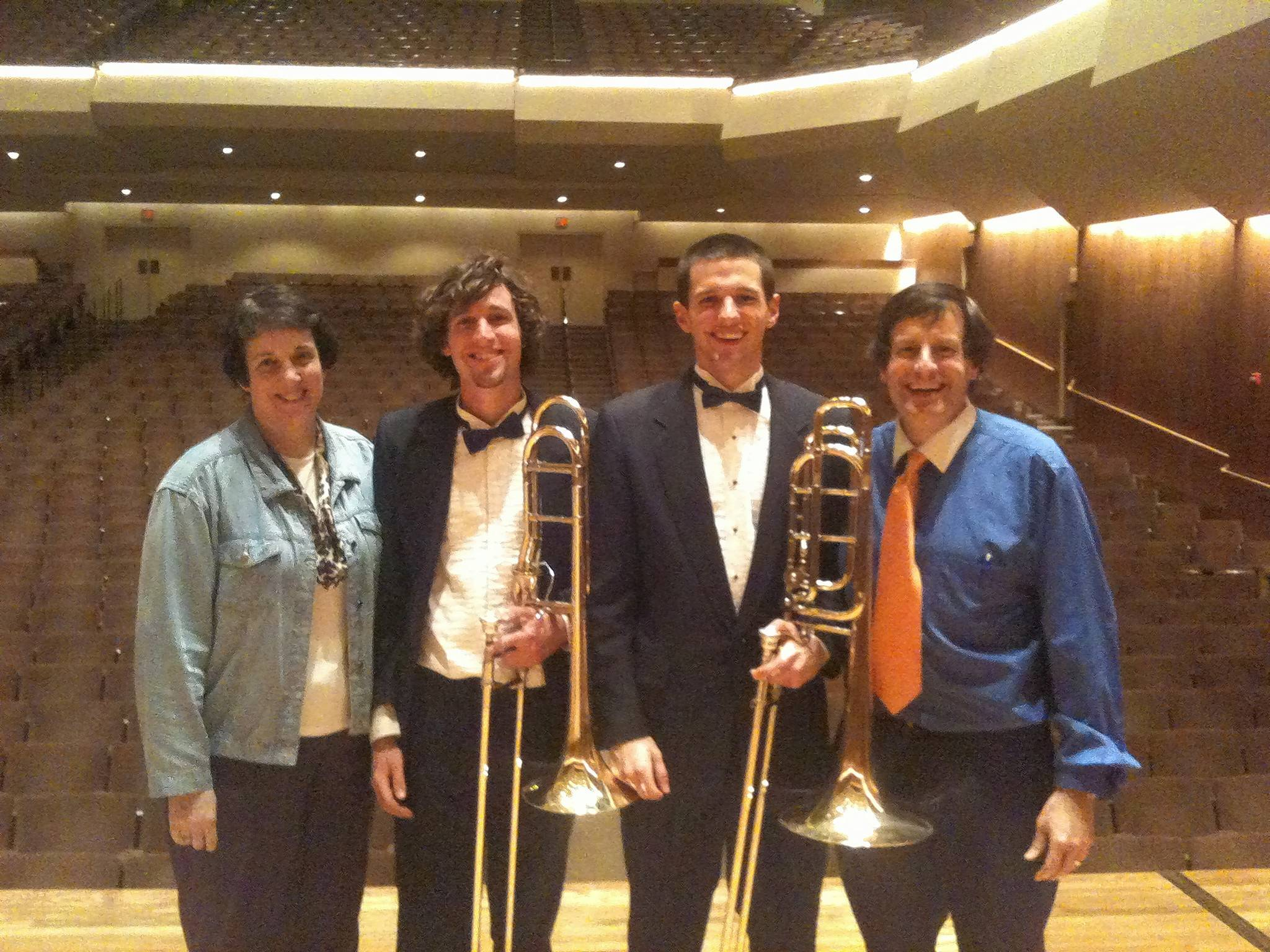 Like their father, Ed Jacobi's two sons graduated from University of Illinois with degrees in music education. Here, Jacobi and his wife, Robin, celebrate with sons Andrew and Brendan following a performance at University of Illinois in 2011.