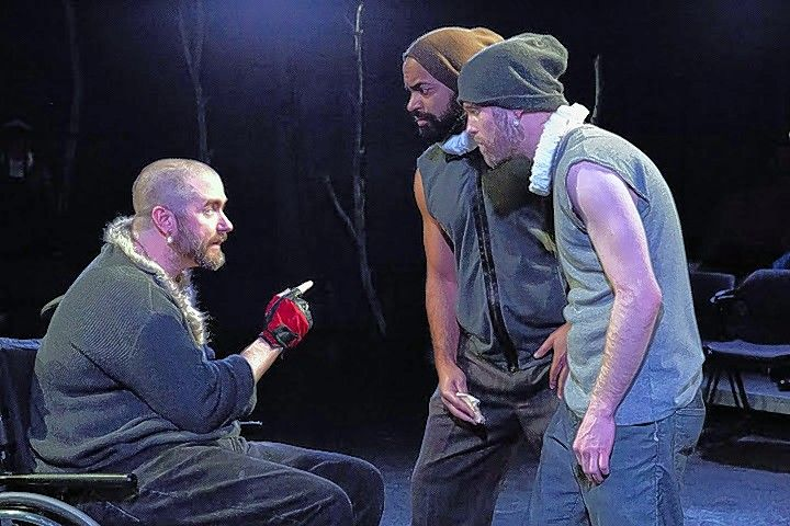 "Richard (Michael Patrick Thornton), left, plots with would-be assassins played by Martel Manning, second from right, and Jay Worthington in ""Richard III"" at the Steppenwolf Garage Theatre."