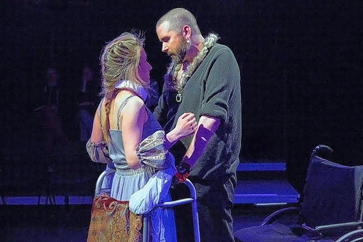 "Richard (Michael Patrick Thornton) woos the newly widowed Lady Anne (Olivia Cygan) in William Shakespeare's historical tragedy, ""Richard III."" The co-production between The Gift and Steppenwolf theaters runs through May 1."
