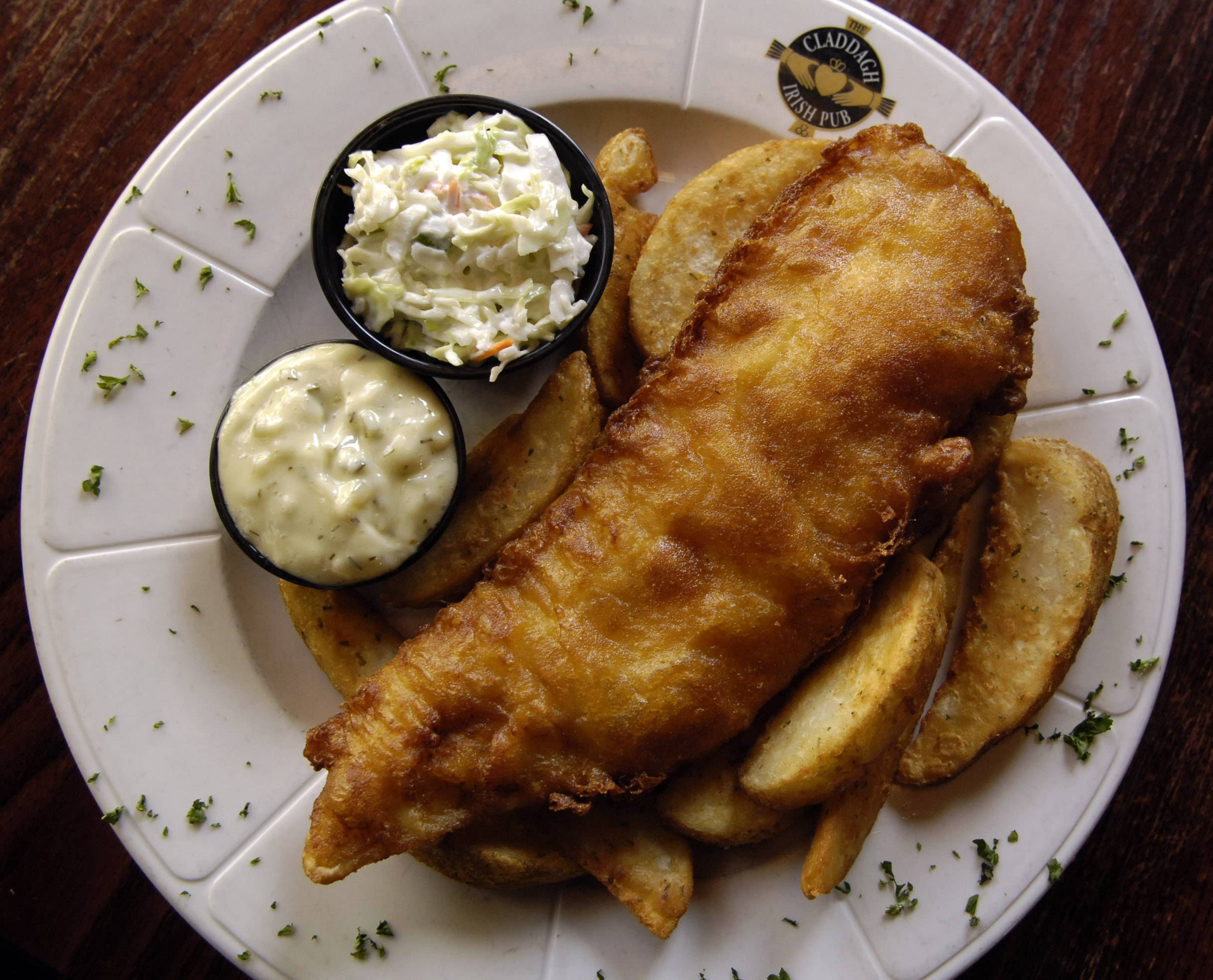 Favorites like fish and chips help celebrants get in the mood for St. Patrick's Day at Claddagh Irish Pub in Geneva.