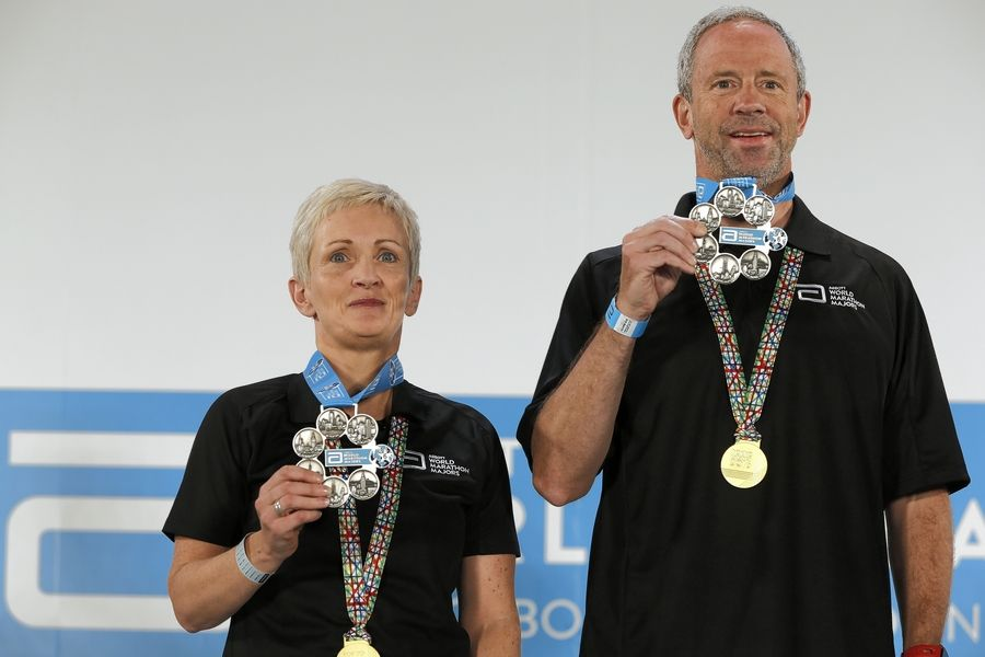 David Mark of Lake Forest, along with Barbara Fleming-Ovens from Cranfield, Ireland, were the first to receive the new Abbott World Marathon Major Six Star Finishers medals at the Tokyo Marathon