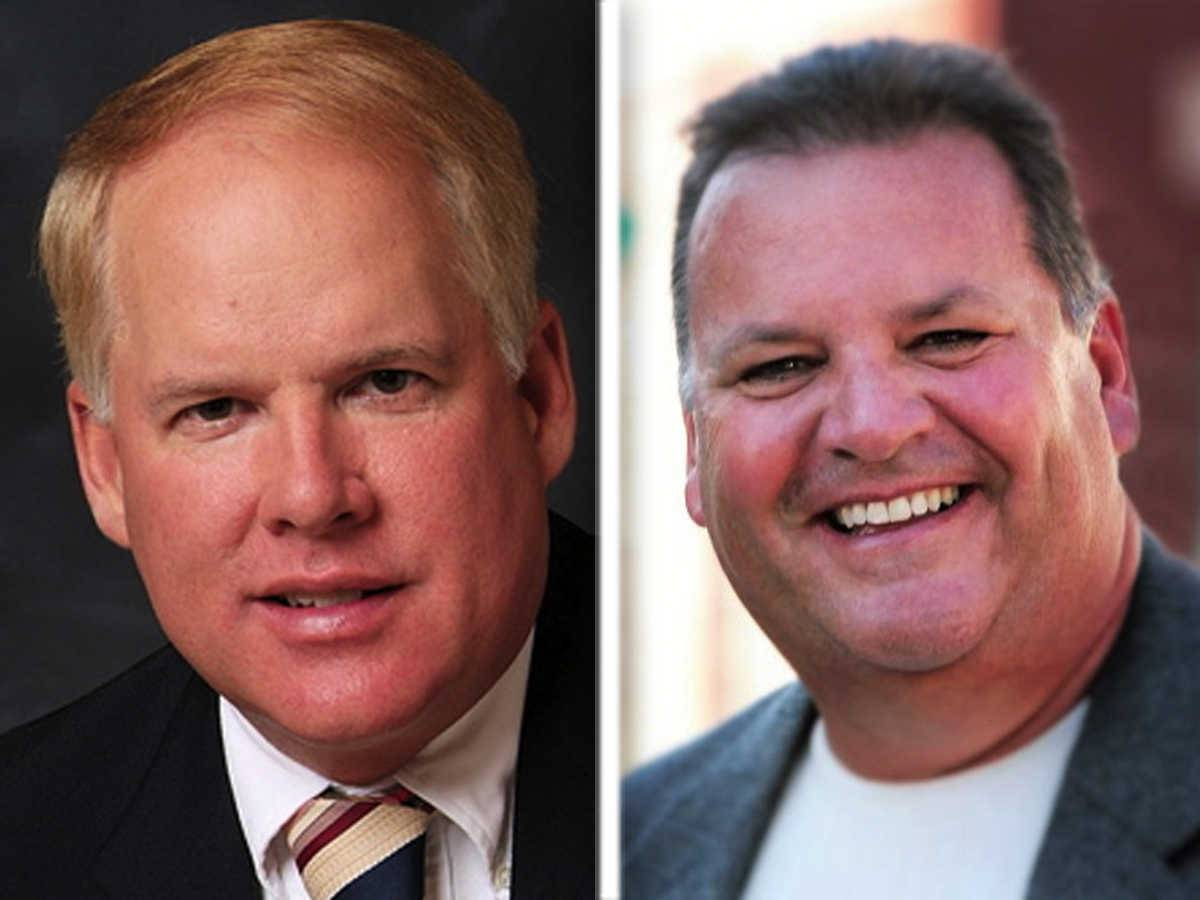 Drew Frasz, left, and Jim MacRunnels are Republican candidates for Kane County Board District 18.
