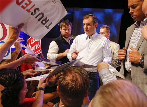 Republican presidential candidate, Sen. Ted Cruz, R-Texas, signs autographs during a campaign stop Friday, March 11, 2016, in Orlando, Fla.