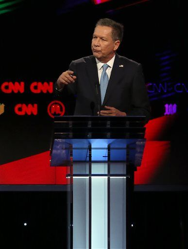 Republican presidential candidate Ohio Gov. John Kasich speaks during the Republican presidential debate sponsored by CNN, Salem Media Group and the Washington Times at the University of Miami,  Thursday, March 10, 2016, in Coral Gables, Fla. (Pedro Portal/The Miami Herald via AP)  MAGS OUT; MANDATORY CREDIT