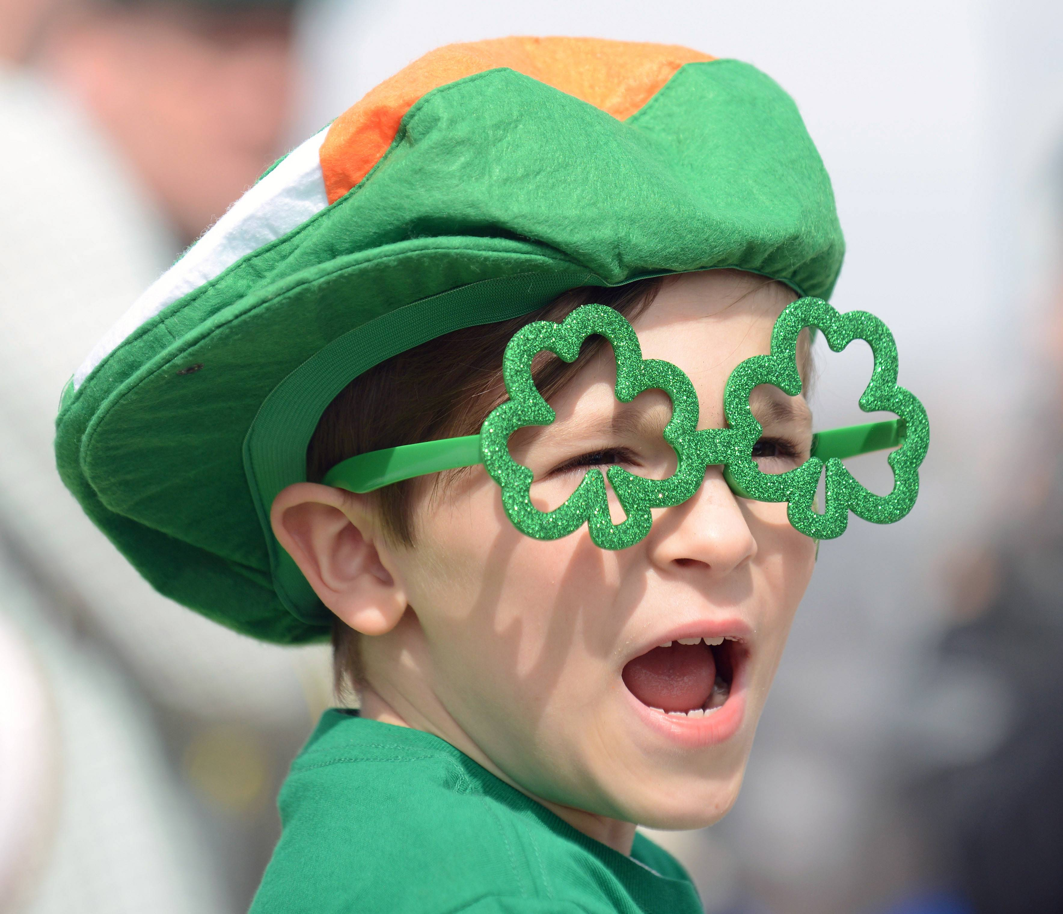 Max Wojtowycz, 7, of Algonquin has a jaw dropping reaction to the start of the St. Patrick's Day parade in East Dundee Saturday. This is his second year attending the parade.