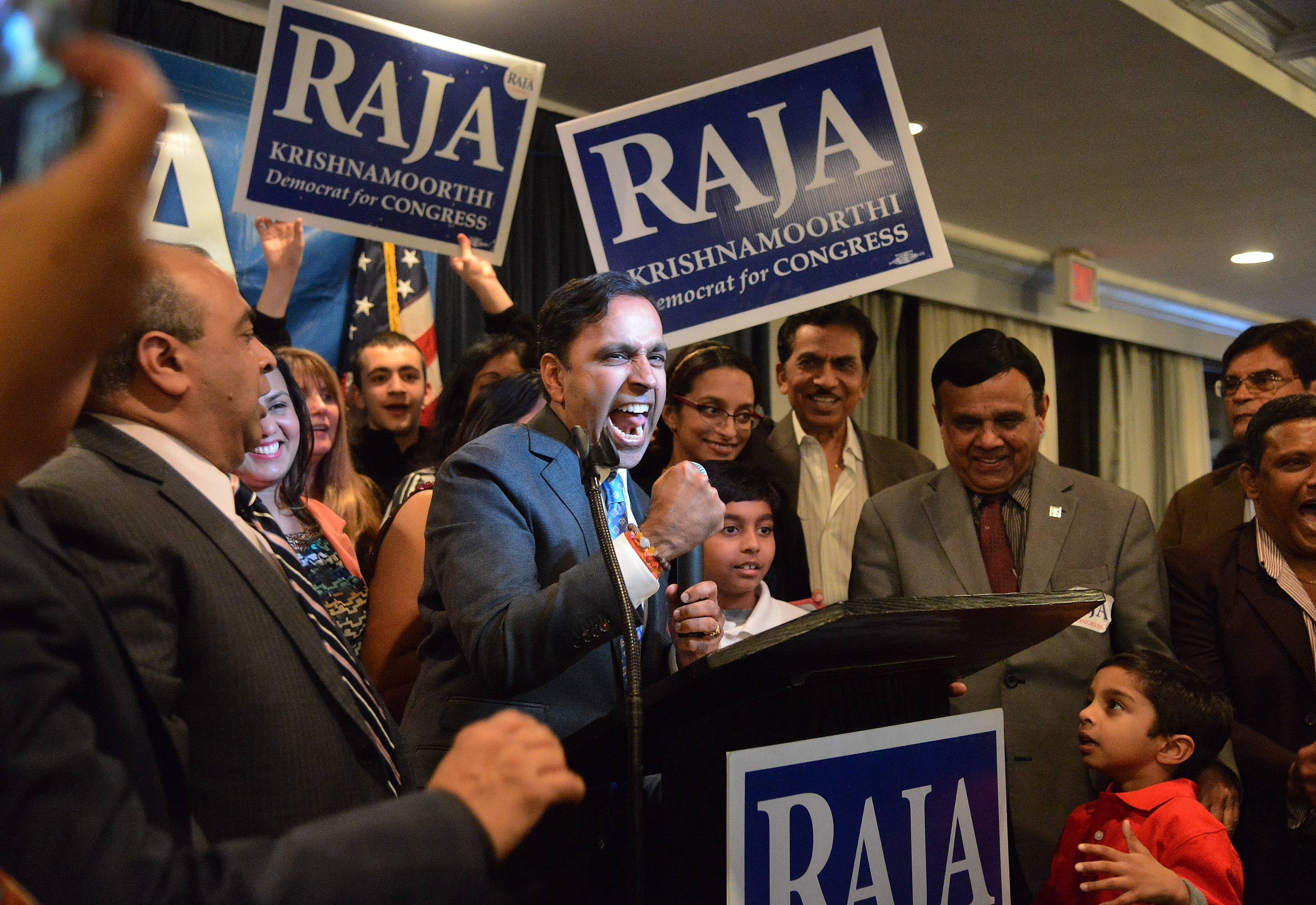 Raja Krishnamoorthi, Democratic primary candidate for the 8th congressional district, accepts victory Tuesday.